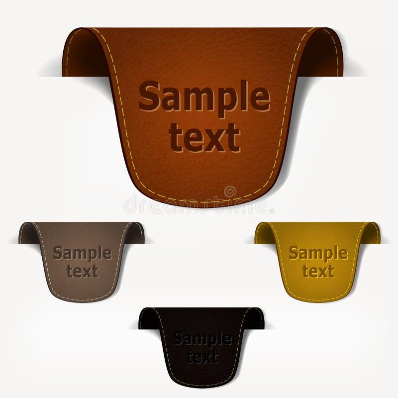 etykietki etykietka rzemienna ustalona ilustracji