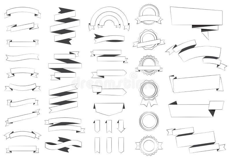 Etykietki etykietki majcheru sztandary Wektorowi ilustracja wektor