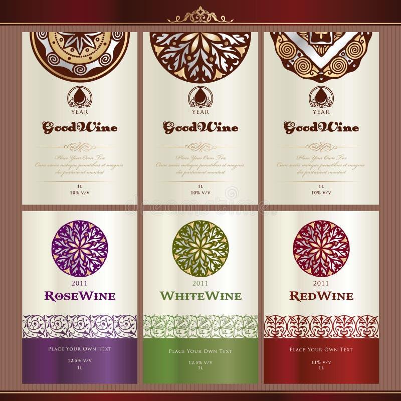 etykietki inkasowy wino royalty ilustracja