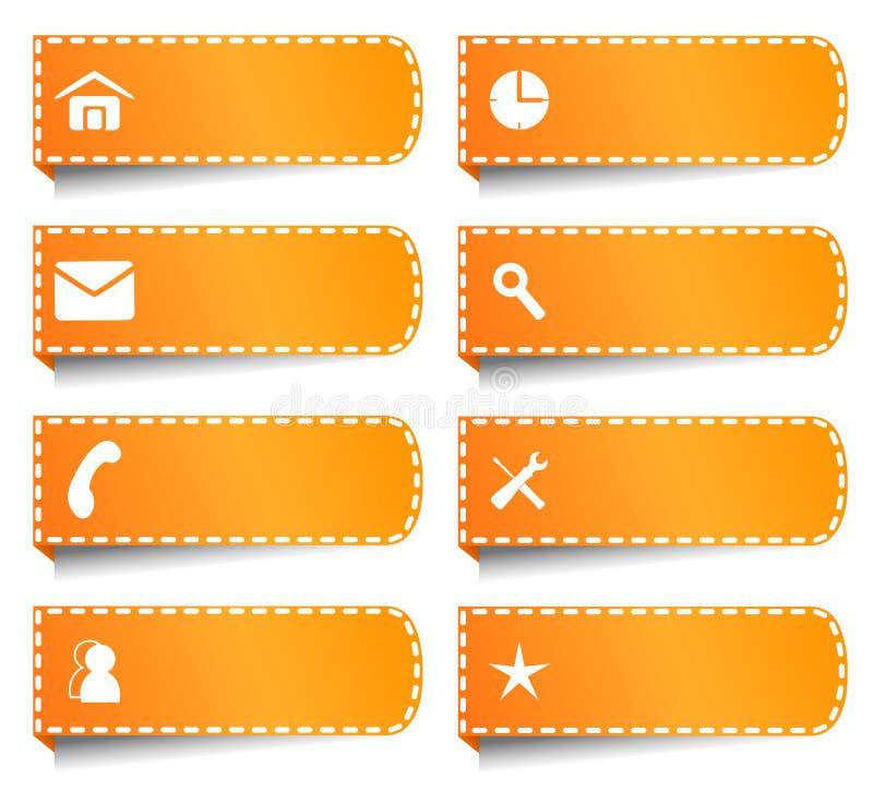 Etykietki lub guziki dla interneta ilustracji