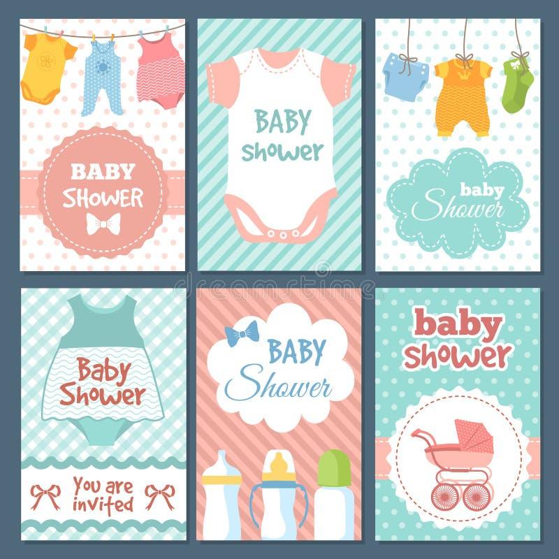 Etykietki lub karty dla dziecko prysznic pakunku Wektorowe śmieszne ilustracje dla dzieciaków ilustracja wektor