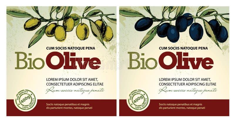 etykietki oliwią oliwki ilustracja wektor