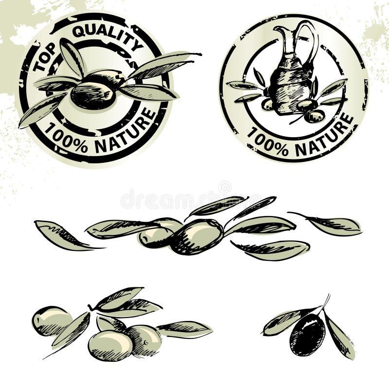 etykietki oliwią oliwne oliwki royalty ilustracja
