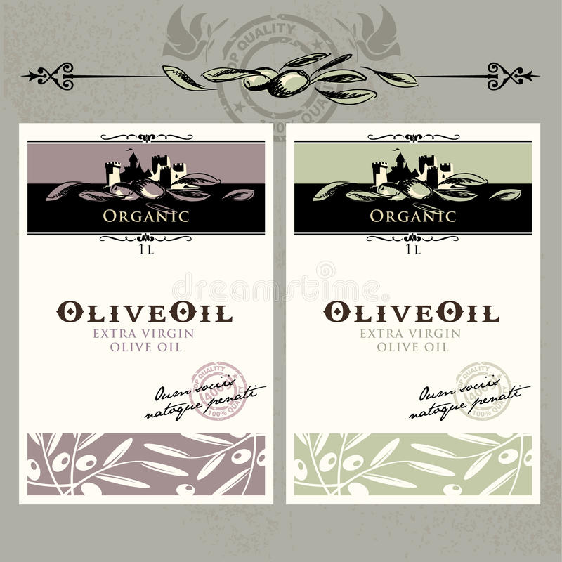 etykietki oliwią oliwnego set ilustracja wektor