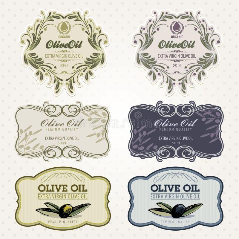 etykietki oliwią oliwnego set royalty ilustracja
