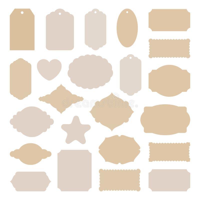 Etykietki oznaczają dużego set, roczników majchery wiele kształty dla karcianego robić, scrapbook, cena, Bożenarodzeniowy prezent ilustracja wektor