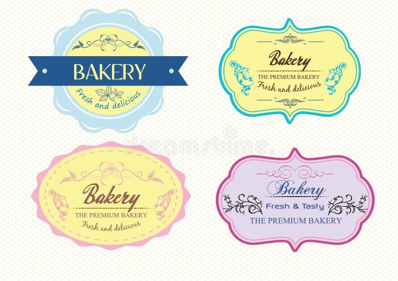 Etykietki piekarni tort obraz stock