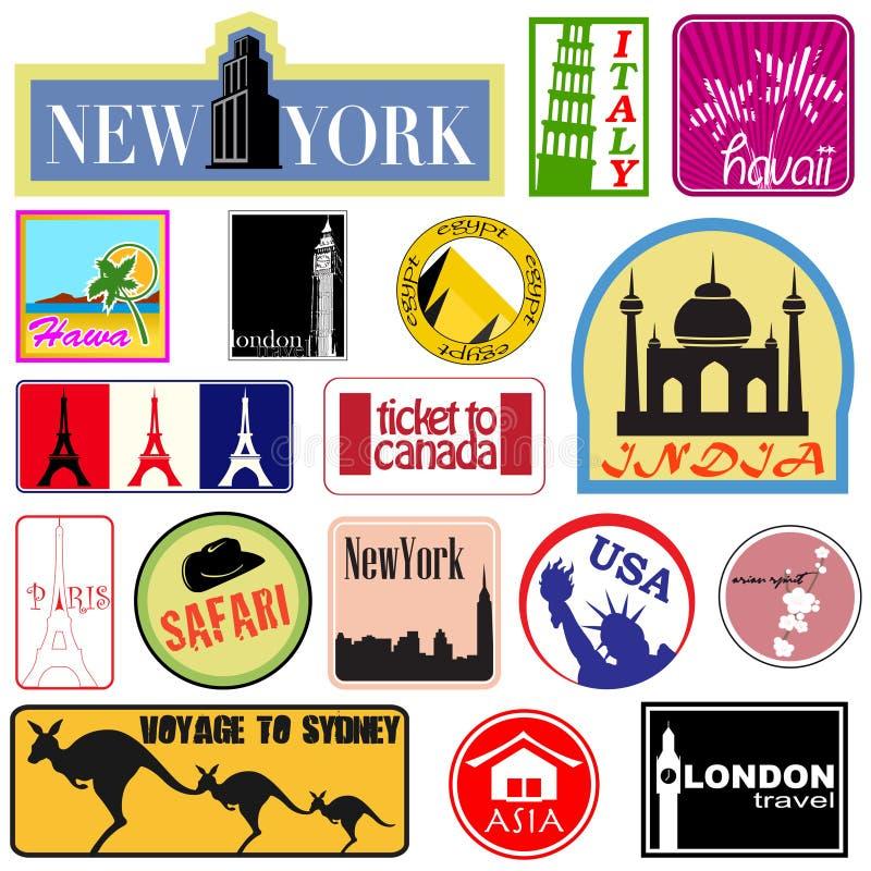 etykietki setu podróż ilustracji