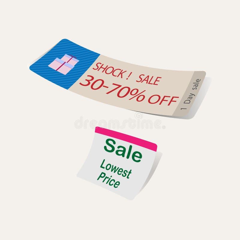 Etykietki sprzedaży niskiej ceny promocja dla supermarketa wektoru ilustracji
