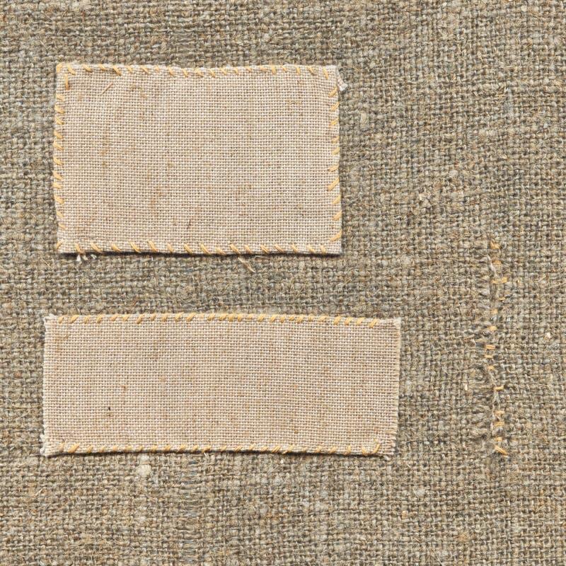 etykietki stara tkanina obrazy stock