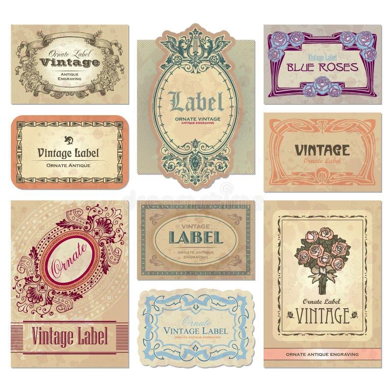 etykietki ustawiają wektorowego rocznika ilustracji
