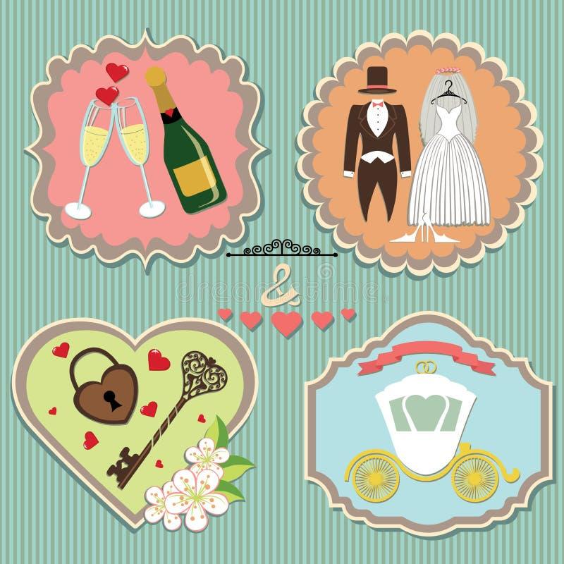 Etykietki z ślubnymi elementami. Rocznik ilustracji