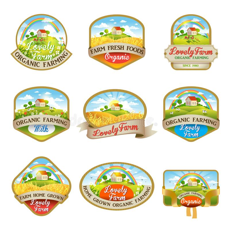 Etykietki z wizerunkiem uroczy gospodarstwo rolne ilustracja wektor