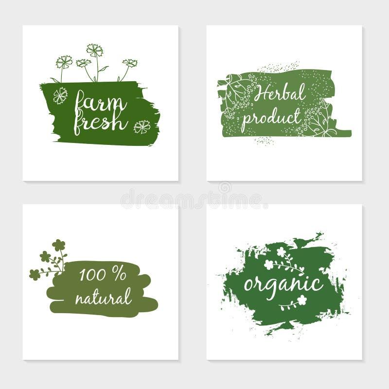 Etykietki z zdrowymi i naturalnymi projektami ilustracja wektor