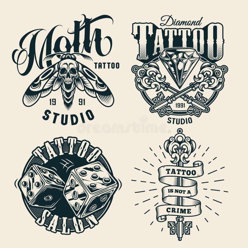 Etykiety jednobarwne ze studia tatuażu w windzie ilustracji