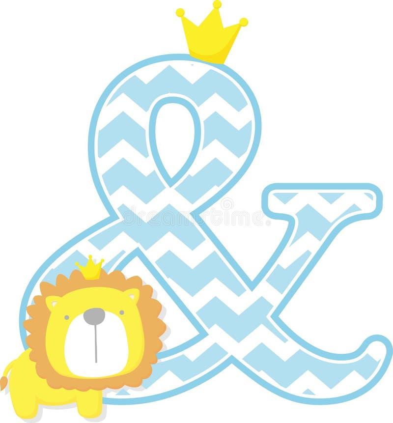 Etzeichensymbol mit nettem Löwekönig und Sparrenmuster lizenzfreie abbildung
