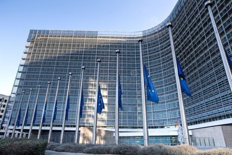 EU旗子在布鲁塞尔比利时 免版税库存照片