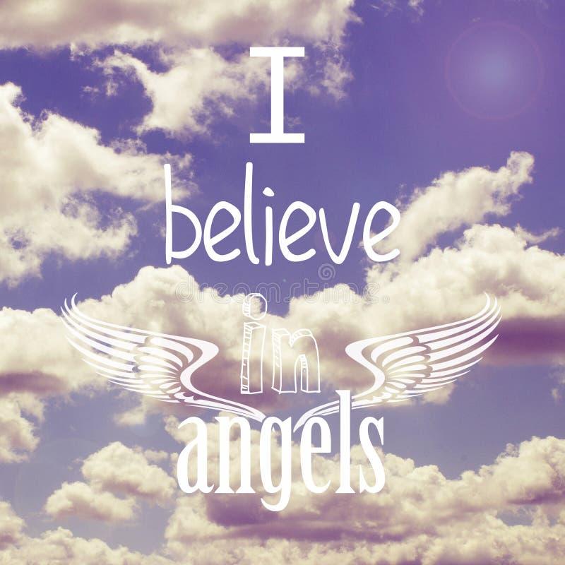 Eu acredito no projeto do cartaz dos anjos ilustração do vetor