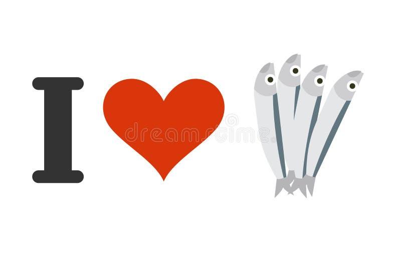 Eu amo anchovas Coração e peixes pequenos Logotipo para amantes do marisco ilustração royalty free