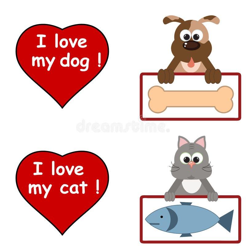 Eu amo animais de estimação ilustração stock