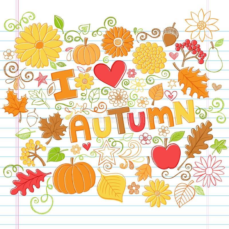Eu amo Autumn Fall Leaves e abóboras Doo esboçado ilustração stock
