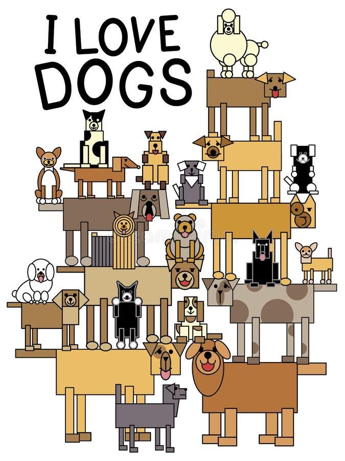 Eu amo cães ilustração royalty free