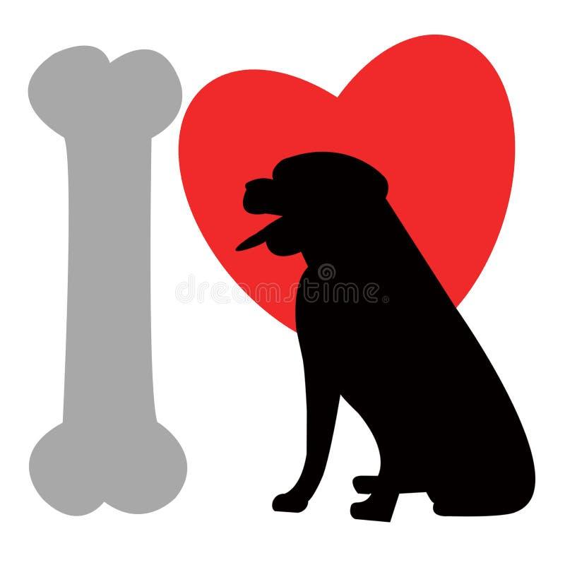 Eu amo cães - logotipo ilustração royalty free