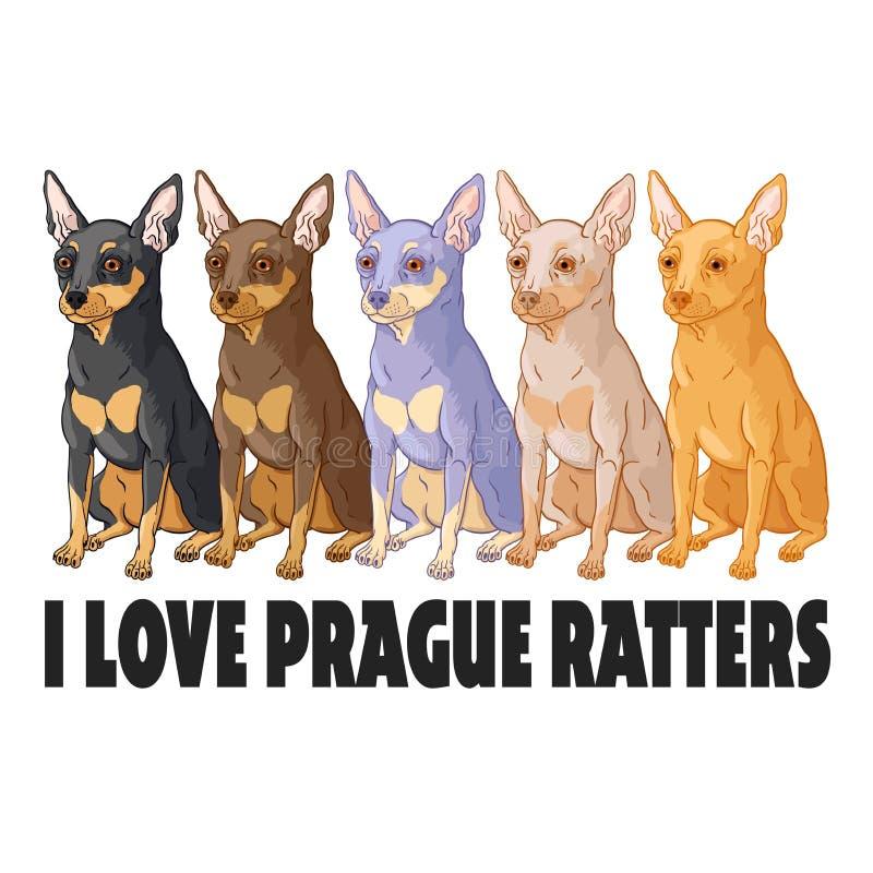 Eu amo caçadores de ratos de Praga ilustração royalty free