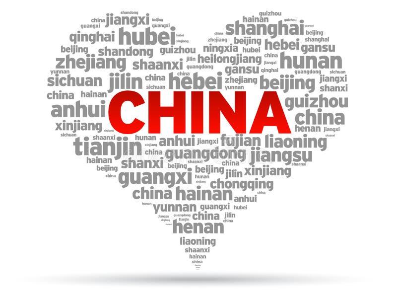 Eu amo China ilustração stock