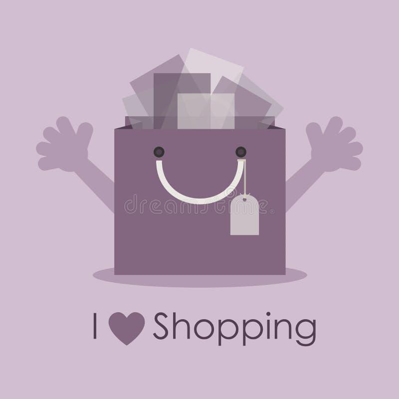 Eu amo comprar, saco bonito do presente do smiley com mãos abertas ilustração stock