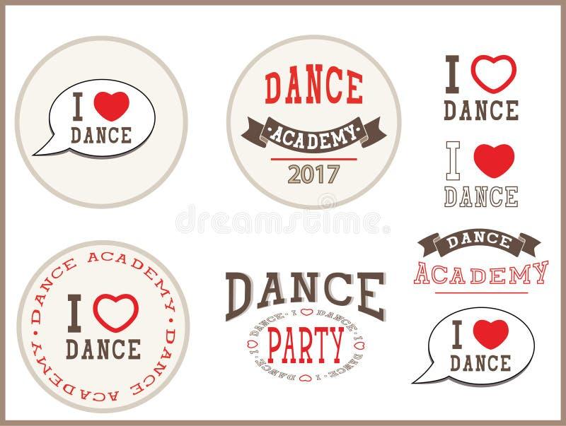 Eu amo a dança, academia da dança, dance party - elementos, sinal, etiquetas, cartão, moldes, emblemas, ícones ilustração do vetor