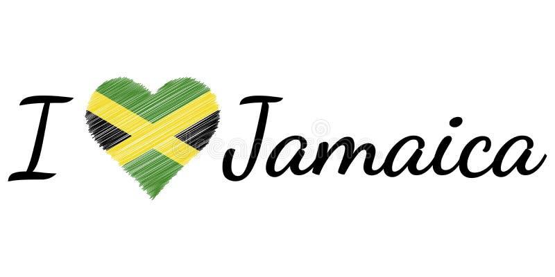 Eu amo a garatuja do coração do texto de Jamaica do país, texto caligráfico do vetor, mim amo o patriota JM do coração da bandeir ilustração stock
