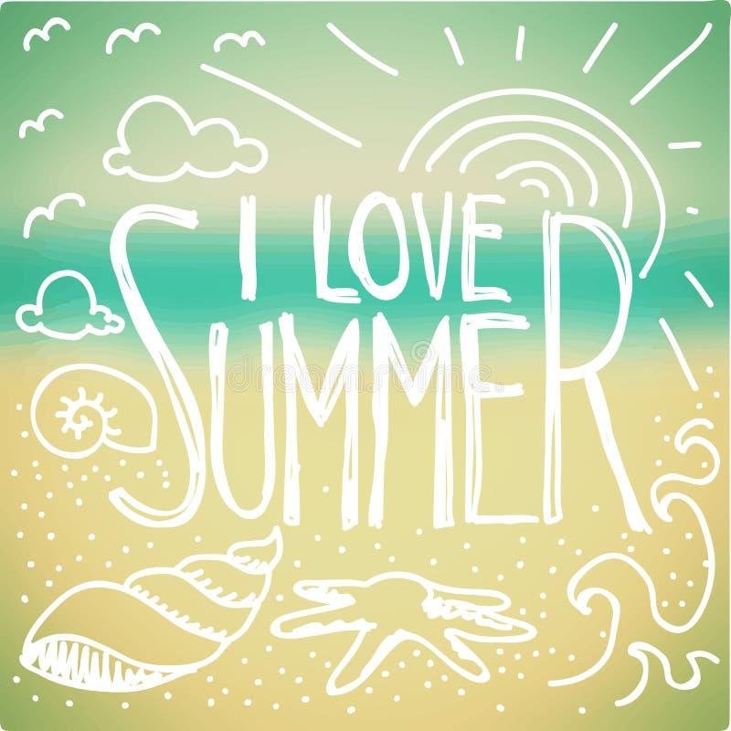 Eu amo a garatuja do verão ilustração do vetor