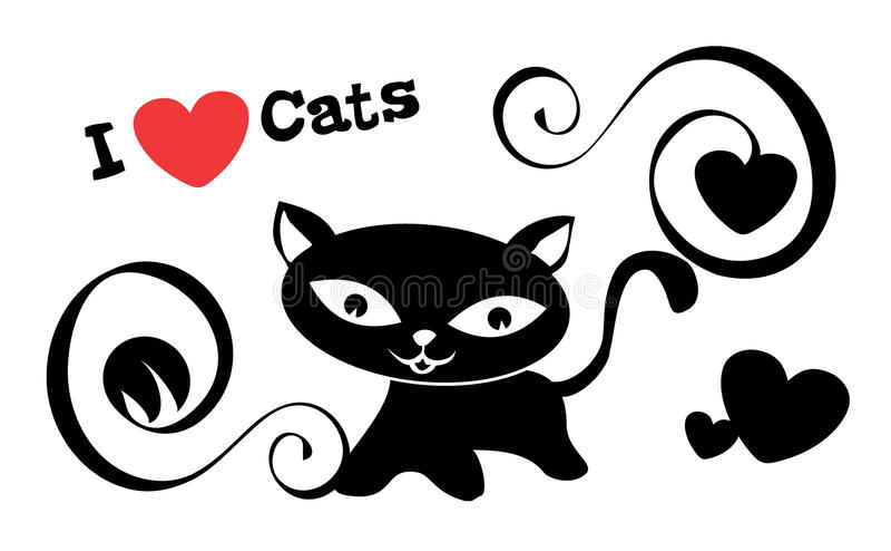 Eu amo gatos ilustração stock