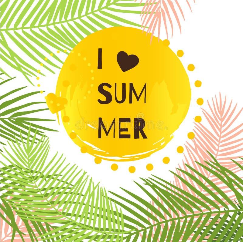 Eu amo a ilustração do vetor do verão com folhas tropicais ilustração stock