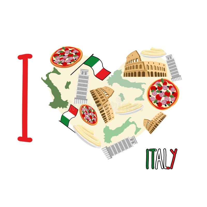 Eu amo Italy Coração do símbolo das atrações de Itália: pizza e ilustração do vetor