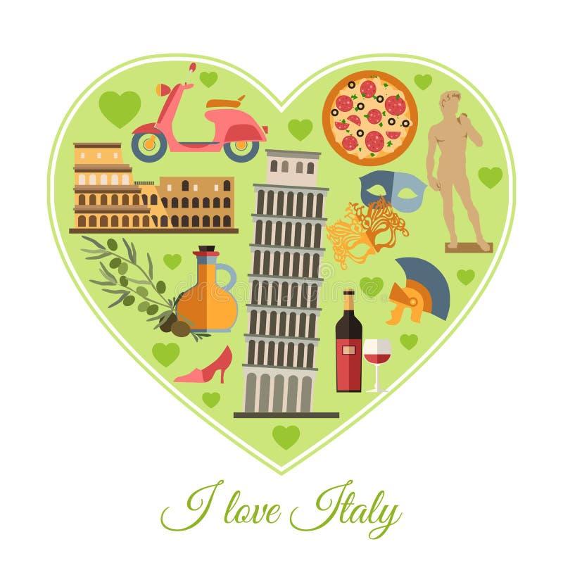 Eu amo Italy Fundo do curso de Itália com lugar ilustração stock