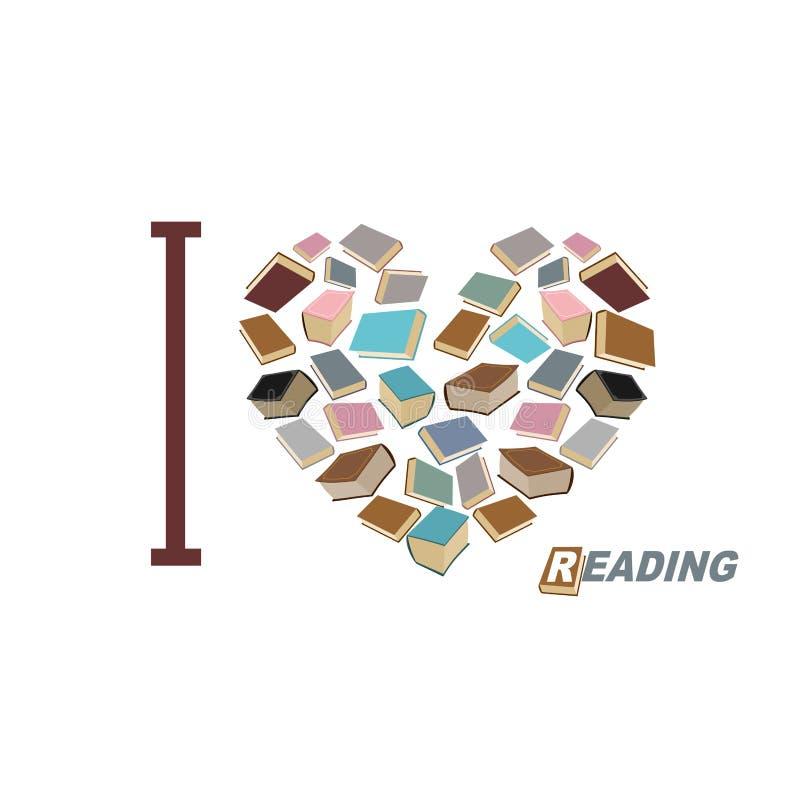 Eu amo ler Coração do símbolo da leitura do livro Vecto de muitos livros ilustração do vetor