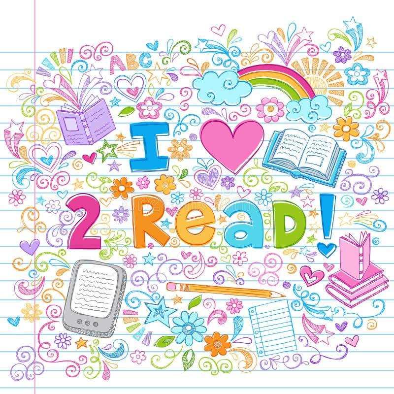Eu amo ler esboçado de volta aos Doodles da escola ilustração royalty free