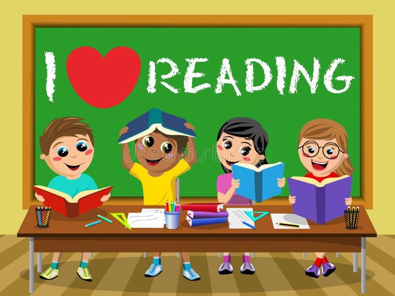 Eu amo ler a sala de aula feliz das crianças das crianças do quadro-negro ilustração do vetor