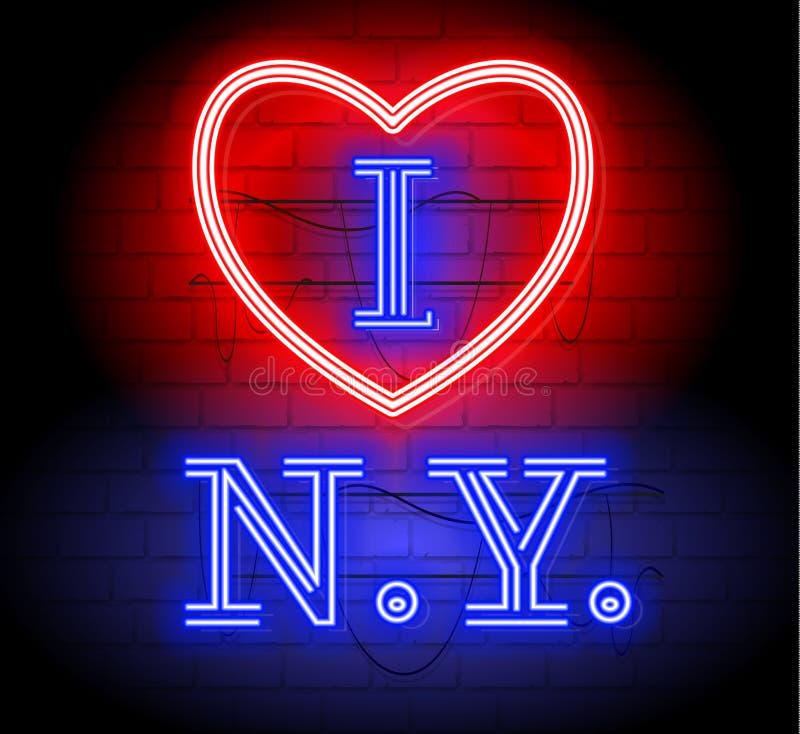 Eu amo a letra de NY para o projeto e a decoração Ilustração de néon do sinal do estilo New York com logotipo do coração Ilustraç ilustração stock