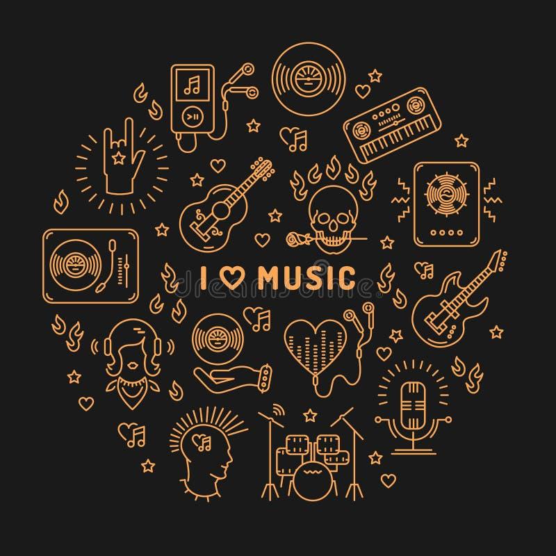 Eu amo a linha círculo isolado ícones da música da arte infographic ilustração royalty free