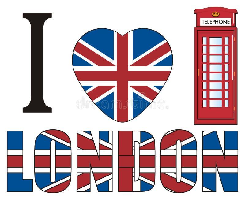 Eu amo Londres e a cabine de telefone vermelha ilustração royalty free