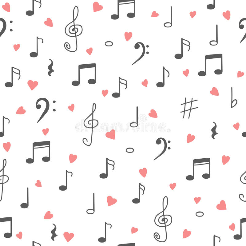 Eu amo a música Fundo sem emenda do teste padrão da música Musi tirado mão ilustração stock
