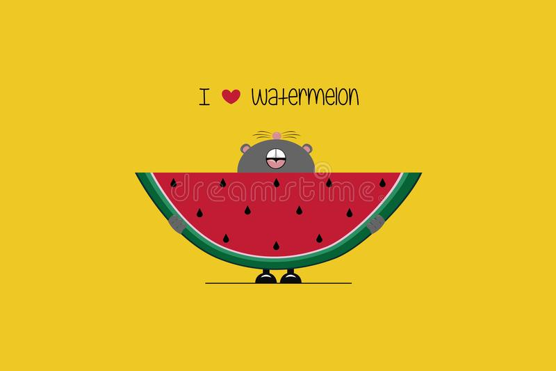 Eu amo a melancia ilustração stock