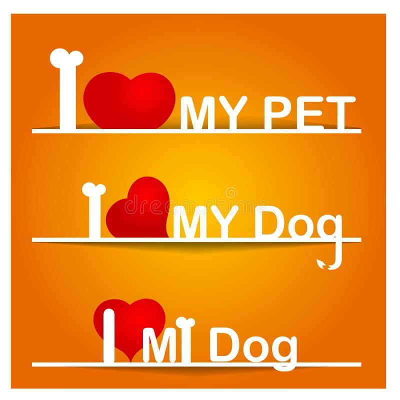Eu amo meu cão ilustração stock