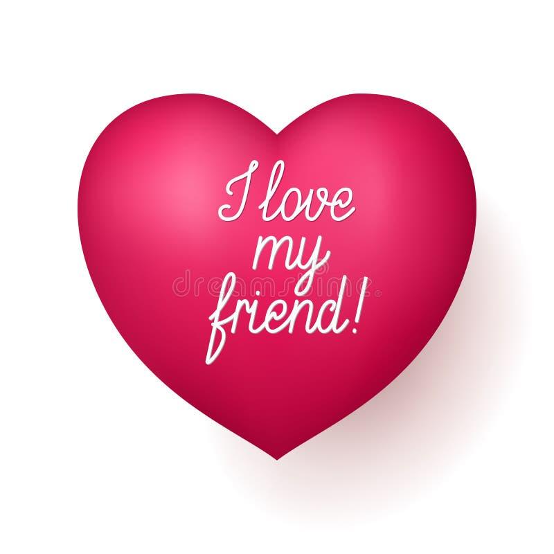 Eu amo meu coração do vermelho do amigo ilustração royalty free