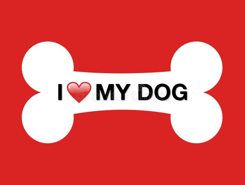 Eu amo meu osso dos desenhos animados do cão ilustração stock