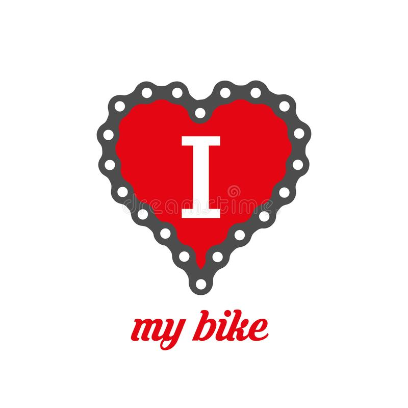 Eu amo meu projeto do cartaz, da cópia ou do t-shirt da bicicleta Ilustração lisa do vetor ilustração royalty free