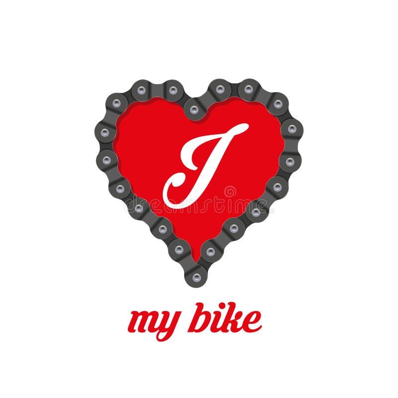 Eu amo meu projeto do cartaz, da cópia ou do t-shirt da bicicleta Ilustração do vetor ilustração do vetor